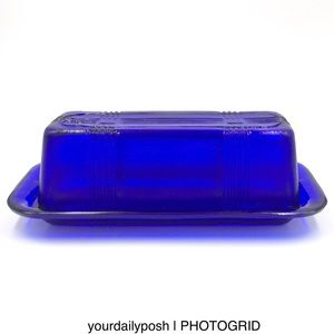 Cobalt blue glass covered domed retro butter dish